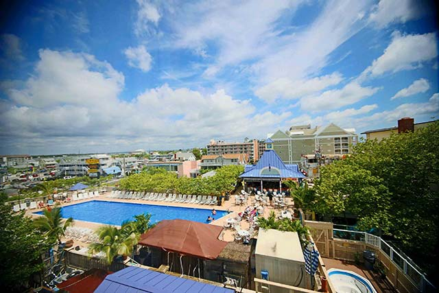 Overlook the Ocean City, Maryland skyline out the window of your comfortable Plim Plaza Hotel room
