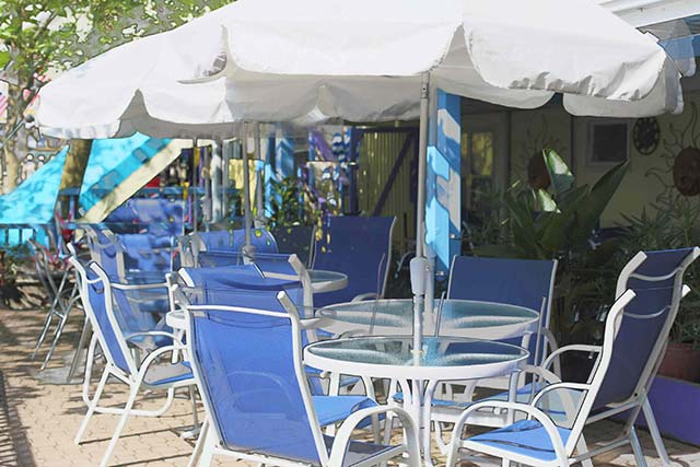 Chill out in the shade with a cool beach drink from the Caribbean Pool Bar and Grill